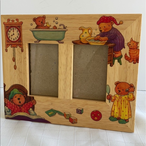 Vintage Fetco Frame wood teddy bears nursery